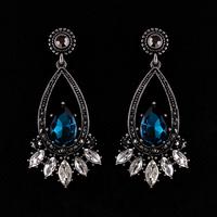 2013 Free Shipping Fashion Green/Blue Crystal Drop Earrings Vintage Brand Jewelry Gold/Silver Women Bijoux