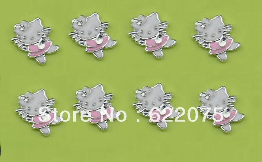 fashion pink hello kitty floating charms locket charm for glass living lockets shape black cross(China (Mainland))