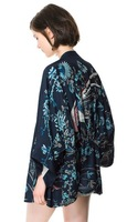 2014 New Arrival  Europe Fashion Woman's Phoenix Printing Coat Without Buckle Bats Loose Kimono Sleeve Coat Free Shipping