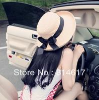 Hot sale summer sun hat anti-uv big roll up hem sun shading hat bucket hats sunscreen strawhat with bow online