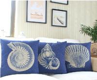 Wholesale,3PCS/Lot Mediterranean style conch heavyweight cotton linen cushion pillow sofa cushion pillow cover Free shipping
