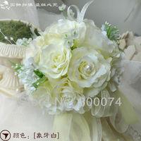 Wedding Flowers, Artificial Silk Roses Bridal  Bouquet w/ 25pcs  Bloom  Roses, Spring, Summer, Fall, Winter Wedding Decoration