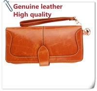 women's genuine leather wallet /long design large capacity zipper clutch bag/vintage wax branded wallets/wholesale/unique beauty