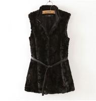 New Arrival Slim Medium-long Belt Decoration Women's Faux  Fur Vest  Black 3 Sizes Ladies Warm Thick Vest  for Winter Retail