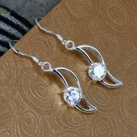 E246 Wholesale 925 silver earrings, 925 silver fashion jewelry, inlaid stone Banana shaped earrings