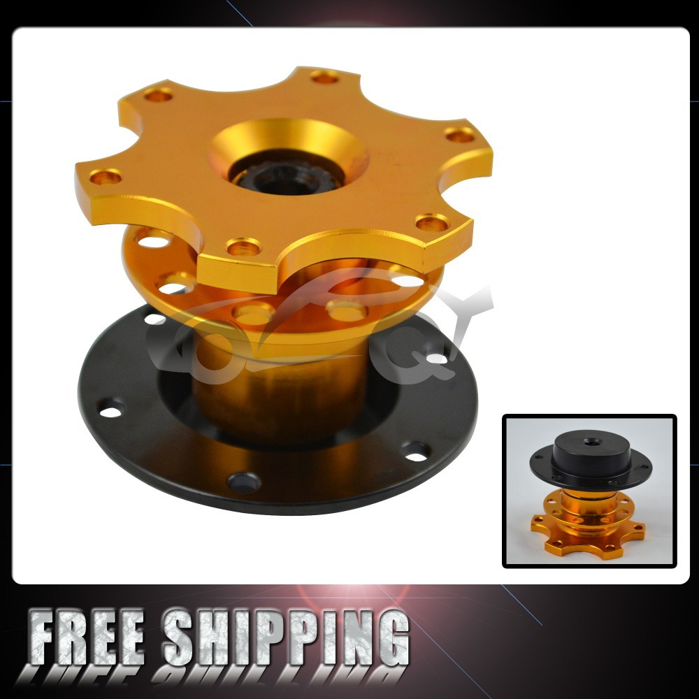 FREE SHIPPING New Sparco style Gold steering wheel quick release with sparco sticker(China (Mainland))