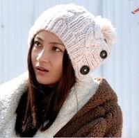 New 2013 Winter Cap Women Warm Woolen Knitted Fashion Hat For Gilrs Jonadab Button Twisted Beanie Cap Woman Fur Cap Accessories