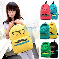 Fashion Women Men Lady Mustache &Glass Canvas School Book Campus Bag Backpack 6Colors 18363