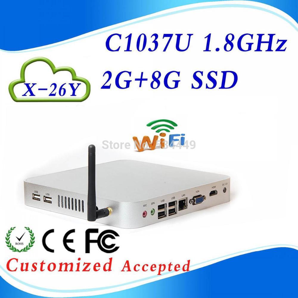 XCY C1037U 1.8GHz Mini PC 2G RAM DDR3 8G SSD Thin Client Windows XP Win 7 Small Computer Case(China (Mainland))