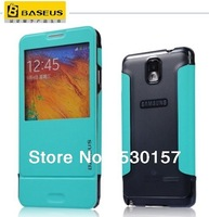 Original BASEUS Brand pc back + pu leather case S View flip cover For Samsung Galaxy Note 3 iii N9000, 12pcs DHL Free shipping