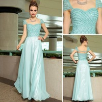 Pretty Fashion Open back Chiffon ironing rhinestone Strapless light blue dress cap sleeve