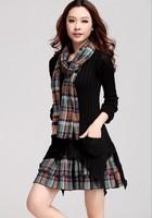 2014 autumn winter black sweater dress bohemian fake two Gouhua openwork lattice fashion Slim was thin dress S M L XL XXL
