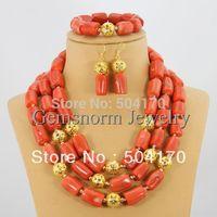 Splendid Coral Beads Jewelry Set Christmas Jewelry Set Wedding/Festival Lady Jewelry Free Shipping CNR093