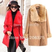 Free shipping 2014 Autumn & Winter high quality elegant large fur collar slim medium-long woolen trench Women wool coat S M L XL