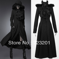 Punk rave  halloween gothic with a hood woolen long outerwear bow tie y-460