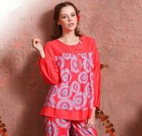 Free shipping Women Elegant Long-sleeve Cotton Breathable Loungewear Set  Lady Pink O-Neck Pajamas