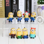 1 set  8PCS/Set 5cm  Despicable Me 2 Minions Figure Toy Retail With Box  high quality(China (Mainland))