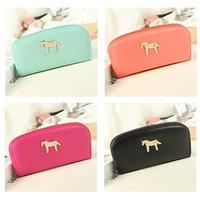 New Fashion Women Cute Horse Zipper Star Long Wallet Card Bag Long Purse Clutch