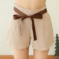 Free  Shipping 2013 women new arrival rippled edge ribbon chiffon fashion straight shorts F518