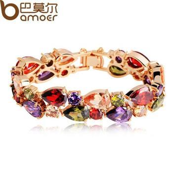 Bamoer High Quality Fashion 18K Rose Gold Plated Mona Lisa Zircon Bracelet for Women Multicolor CZ Stones Christmas Gift JIB001