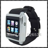 2013 new arrival Fashion Free shipping  Stainless steel shell with Silicon Watchband  E-book Camera Smart watch phone Black