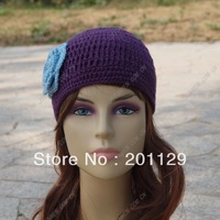 Factory direct wholesale, hand-crocheted wool hat Adult hat beanie Purple hat with blue flowers crochet hat free shipping Lady