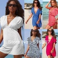 (Free Shipping) Hot Sell Candy Color Beach Sunscreen Deep V-Neck Tunic Bikini Dress,Women Casual Cool Batwing Sleeve Mini Dress