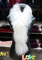 Winter black white custom 70cm/135cm real mongolian fur scarf muffler scarves for women, ladies curl fur capelet shawls pashmina