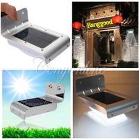Waterproof Aluminum Solar Power 16 LED Light Sound Sensor Wall Mount Outdoor Light Garden Lamp Decorate Free Shipping
