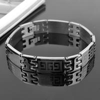 G letter  charm titanium steel men's bracelet silver polished Men Jewelry Gift trendy Wall pattern