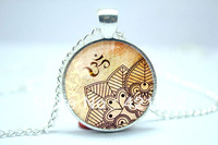 10pcs/lot Om Necklace, Henna Design Yoga Jewelry, Om Charm, Silver Plate Glass Cabochon Necklace
