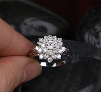 Brand Jewelry White Sapphire Diamonique Stone Flower 10KT White Gold Filled Wedding Ring Christmas Gift