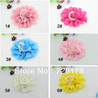 20pcs/lot,6colors,Chiffon Rosette Flowers With Fake Pearl Ribbon Bow With Patches For Baby Headbands hair styling,HBF20