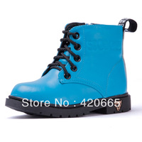 2013 winter Children shoes boys & girls Snow boots cowhide  fashion Martin boots Free shipping