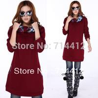 Autumn and winter plus size loose sweatshirt casual long design women's plus velvet DY- F539
