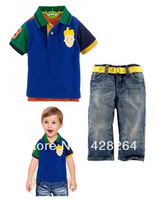 Freeshipping! Factory outlets discount! Wholesale New 2013 Baby  T shirts+long jeans 2pcs Sports Sets
