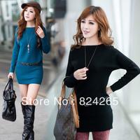2013 women's slim medium-long sweater batwing sleeve knitted one-piece dress slim hip skirt