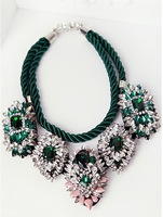 2014 New Fashion Shourouk green crystal luxury statment necklace jewelry vintage chokers necklace neon gems braided rope Female