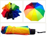 High quality colorful Rainbow umbrella folding super anti-uv dual ultra-light sunny and rainy day free shipping