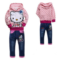 Retail New 2013 Autumn Sport Suits Children Clothes Cartoon Hello Kitty Dots Jacket + Jeans Pants Baby Girls Clothing Sets