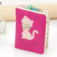 2014 lady & girls korean style short queen  animal cat PU leather wallet card holder bag cartera carteira clutches coin purse