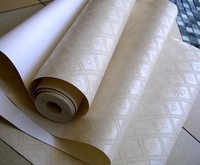 Modern 3D Simple Beige Mosaic Wallpaper  / Furniture Renovation Stickers And Wallpaper Roll