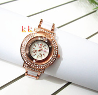 New arrived plating gold,Alloy set auger / Acrylic strap material made by hand, punk style women fashion watches