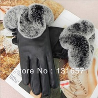 New 2013 Autumn/Winter Women's Gloves, Genuine Leather Gloves, Warm Cony Fur Gloves. G-030
