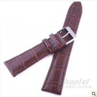 New 2013 Free Shipping Genuine Leather Watch Band Watchband Waterproof Crocodile Pattern Strap Men 18 19 20 22mm High Quality