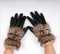 new 2014 faux Rabbit fur hasp fur fashion short design women's sheepskin pu leather gloves winter thickening gloves