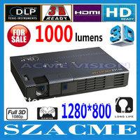 New Arrive ! 1000Anis lumens 1280x800 4000:1 LED DLP pocket 2D to 3D Mini Projector with HDMI USB VGA AV SD TF card ports