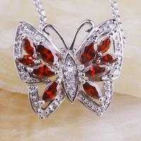 Wholesale Butterfly Shape Garnet White Sapphire Free 925 Silver Chain Necklace Pendant  Facile Design Noble European Jewelry