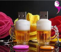 Free Shipping Wholesale Sale Fashion Creative Beer Mug+Key Chain  USB Flash 2.0 Memory Drive Stick Thumb/Car/Pen Gift