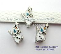 50pcs 8mm Frozen-Olaf  slide Charms DIY Accessories fit key chains necklace
